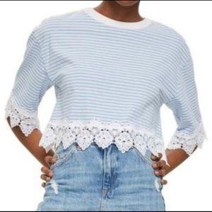 Topshop Striped Crop Top Crochet Scallop Hem